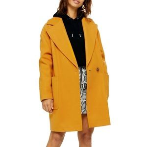 NWT TOPSHOP Oversize Carly Mustard Pea Coat, 8